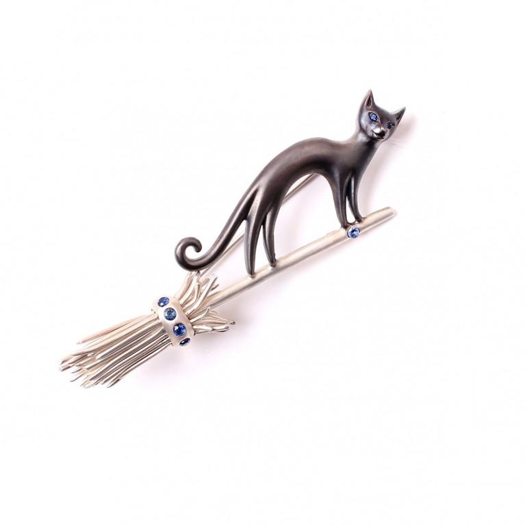 """Брошь """"Кошка и Метла!"""" серебро"""