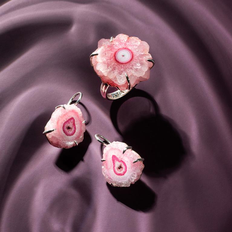 """Кольцо """"Druzy"""" розовое"""